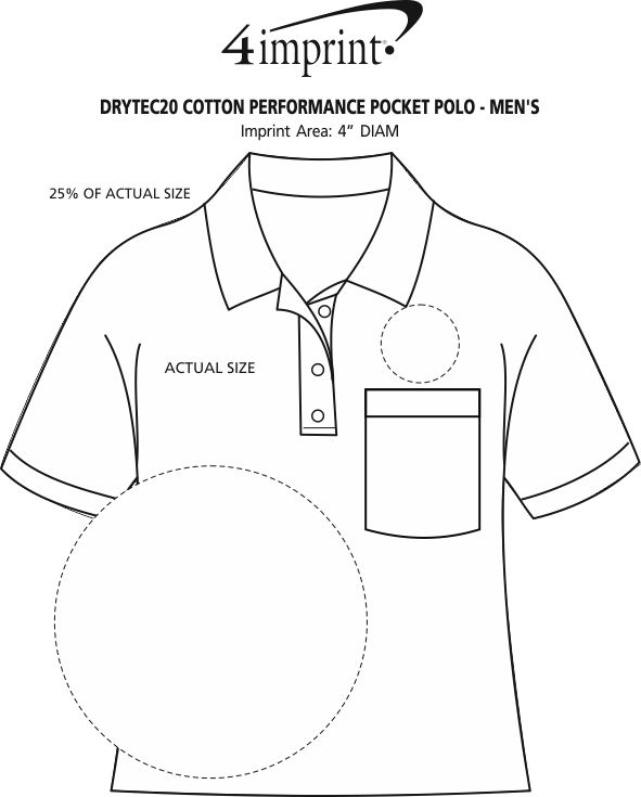 Imprint Area of DryTec20 Cotton Performance Pocket Polo - Men's