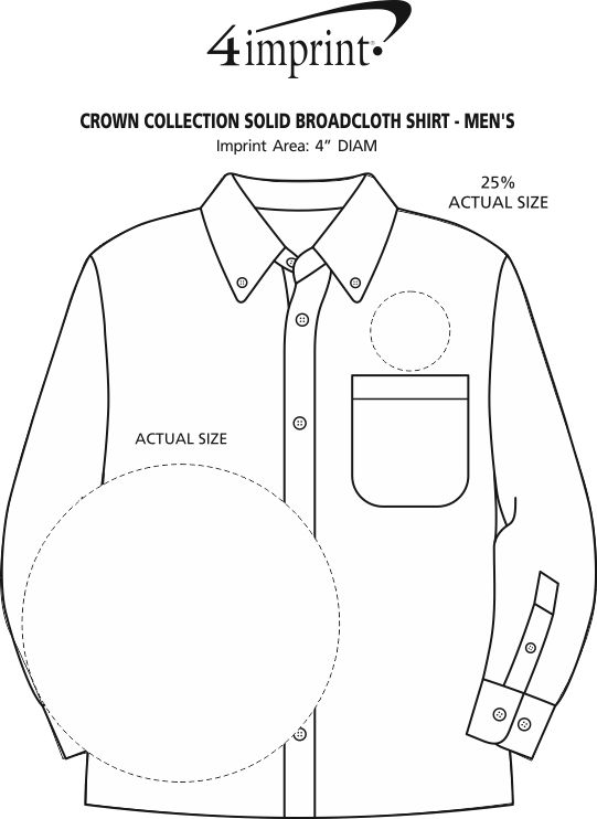 Imprint Area of Crown Collection Solid Broadcloth Shirt - Men's