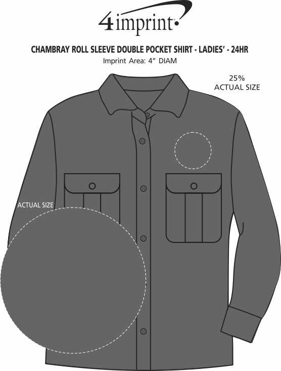 Imprint Area of Chambray Roll Sleeve Double Pocket Shirt - Ladies' - 24 hr