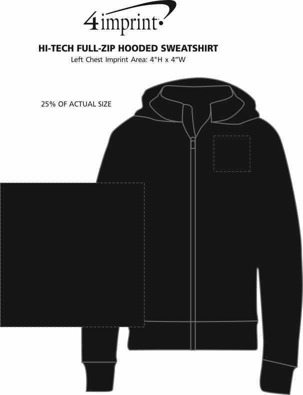 Imprint Area of Hi-Tech Full-Zip Hooded Sweatshirt - Screen