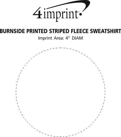 Imprint Area of Burnside Printed Striped Fleece Sweatshirt