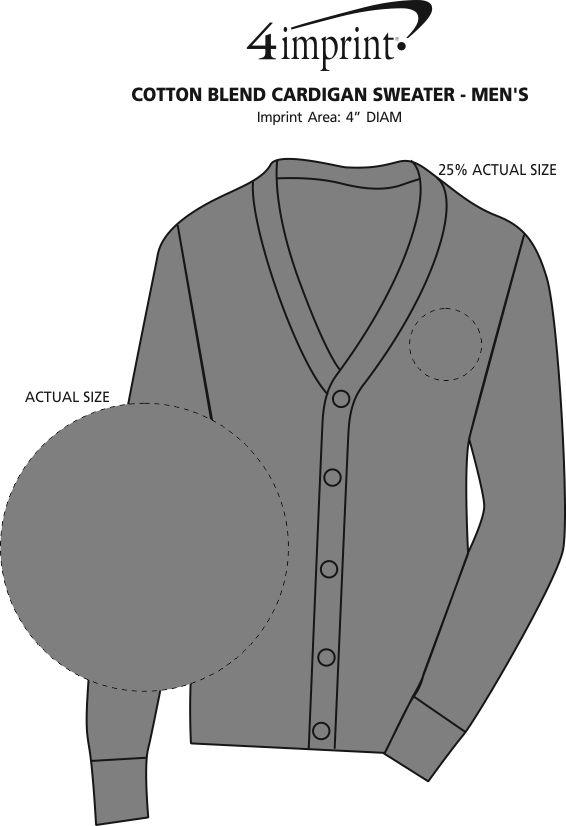 Imprint Area of Cotton Blend Cardigan Sweater - Men's