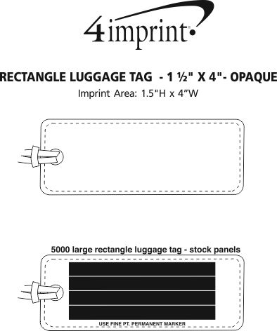 """Imprint Area of Rectangle Luggage Tag  - 1-1/2"""" x 4"""" - Opaque"""