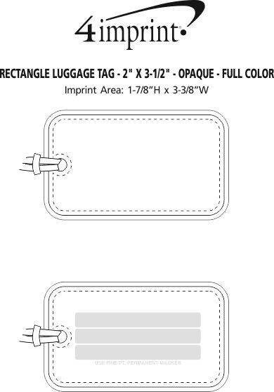 """Imprint Area of Rectangle Luggage Tag - 2"""" x 3-1/2"""" - Opaque - Full Color"""