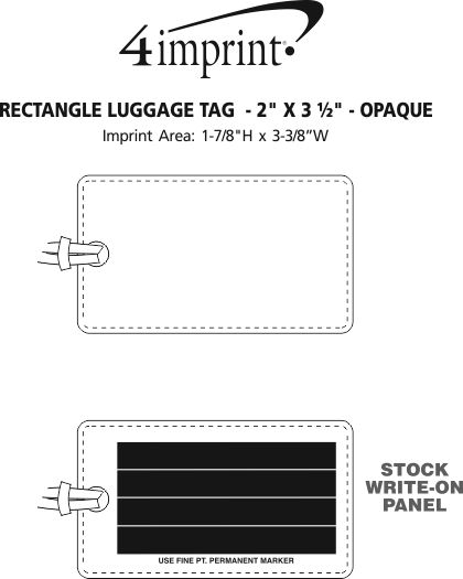 """Imprint Area of Rectangle Luggage Tag  - 2"""" x 3-1/2"""" - Opaque"""