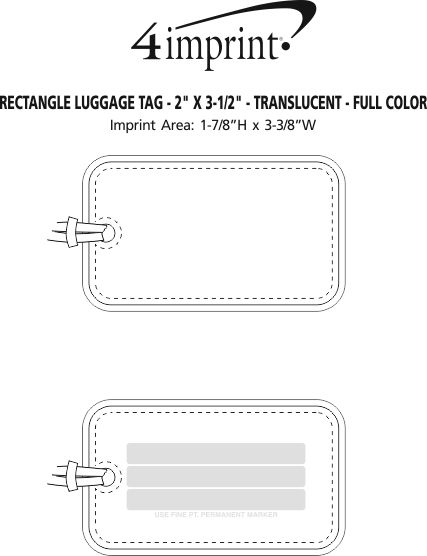 "Imprint Area of Rectangle Luggage Tag - 2"" x 3-1/2"" - Translucent - Full Color"