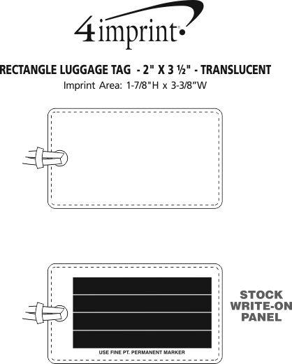 "Imprint Area of Rectangle Luggage Tag  - 2"" x 3-1/2"" - Translucent"