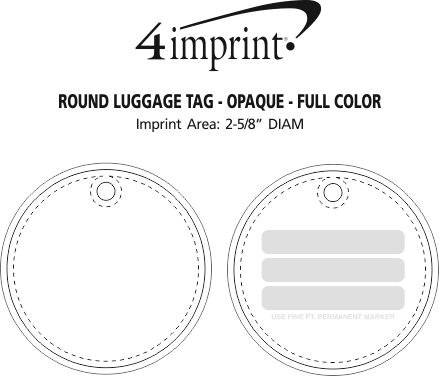 Imprint Area of Round Luggage Tag - Opaque - Full Color