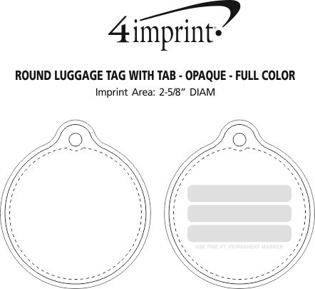 Imprint Area of Round Luggage Tag with Tab - Opaque - Full Color
