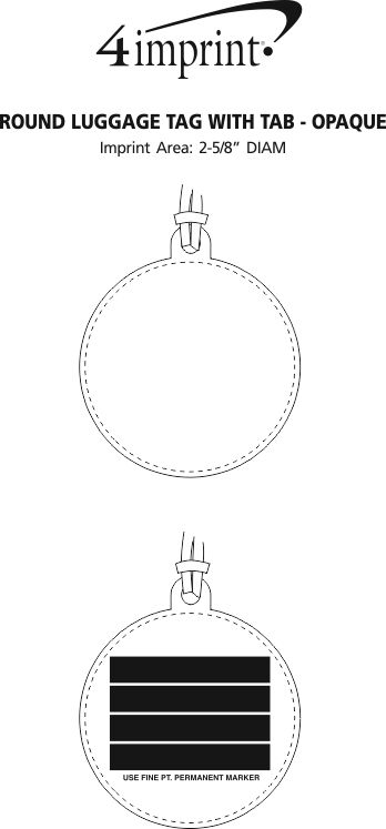 Imprint Area of Round Luggage Tag with Tab - Opaque