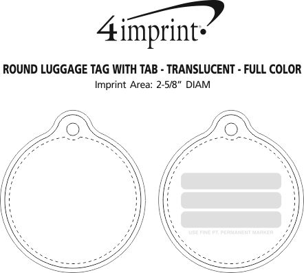 Imprint Area of Round Luggage Tag with Tab - Translucent - Full Color