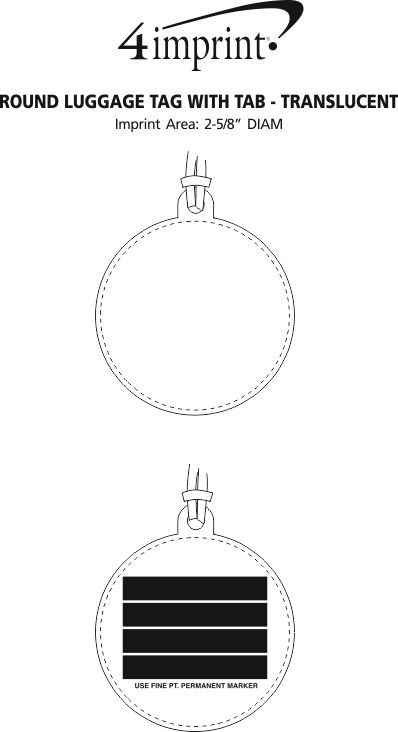 Imprint Area of Round Luggage Tag with Tab - Translucent