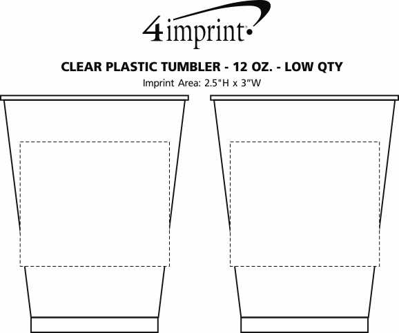 Imprint Area of Clear Plastic Cup - 12 oz. - Low Qty
