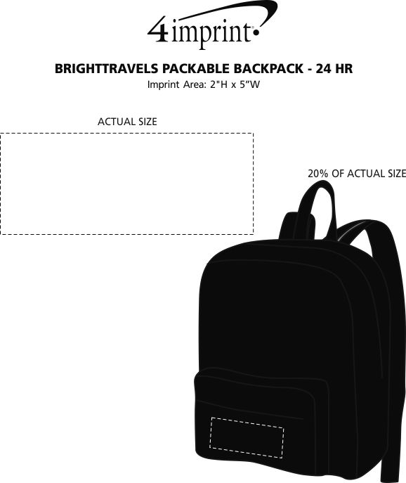 Imprint Area of BRIGHTtravels Packable Backpack - 24 hr
