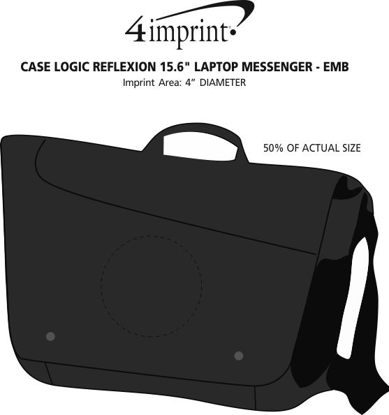"Imprint Area of Case Logic Reflexion 15.6"" Laptop Messenger - Embroidered"