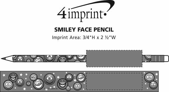 Imprint Area of Super Kid Pencil - Smiley Faces