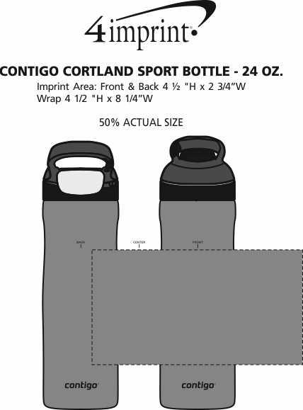 Imprint Area of Contigo Cortland Sport Bottle - 24 oz. - 24 hr