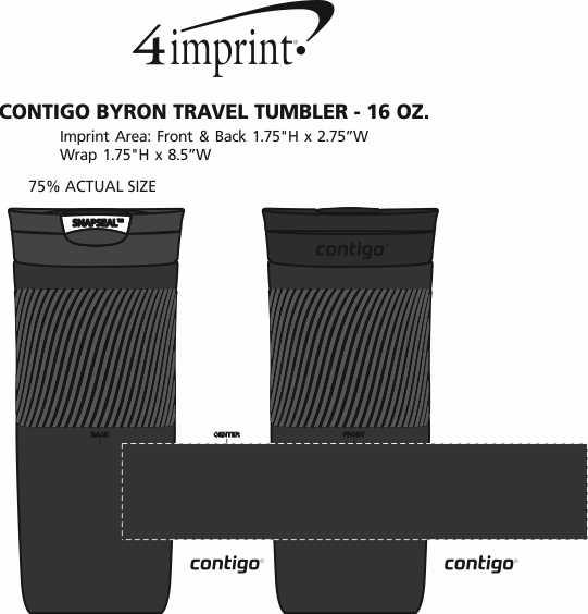 Imprint Area of Contigo Byron Travel Tumbler - 16 oz. - 24 hr