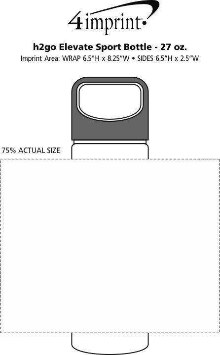 Imprint Area of h2go Elevate Sport Bottle - 27 oz.