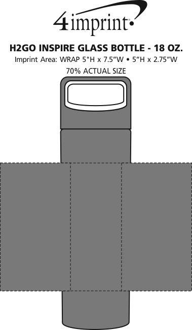 Imprint Area of h2go Inspire Glass Bottle - 18 oz.