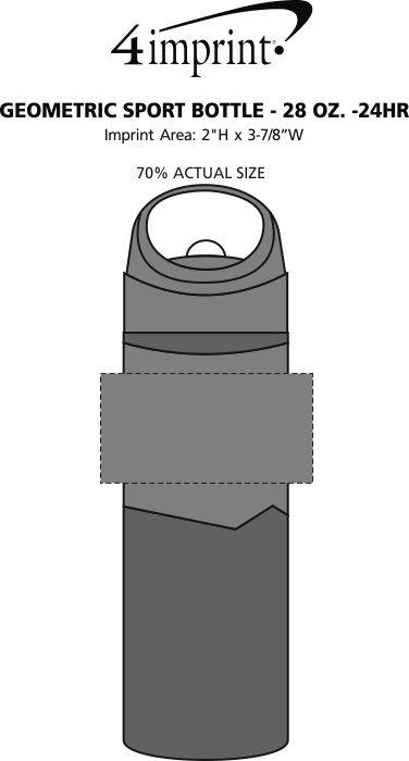 Imprint Area of Geometric Sport Bottle - 28 oz. - 24 hr