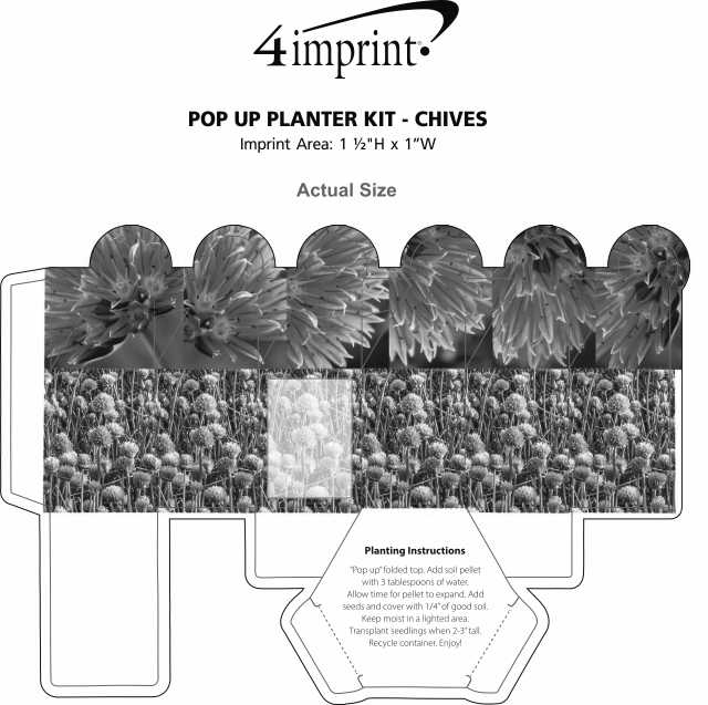 Imprint Area of Pop Up Planter Kit - Chives