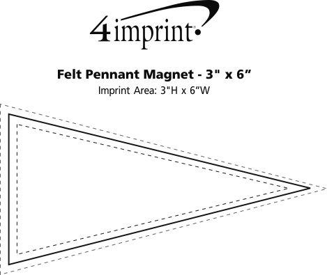 "Imprint Area of Felt Pennant Magnet - 3"" x 6"""