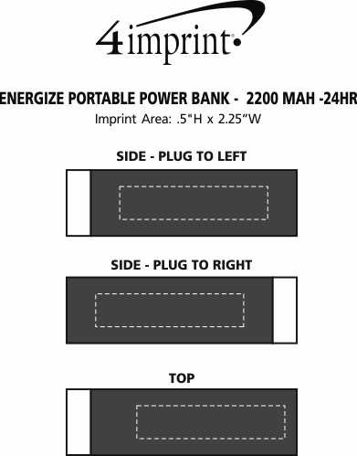 Imprint Area of Energize Portable Power Bank - 24 hr
