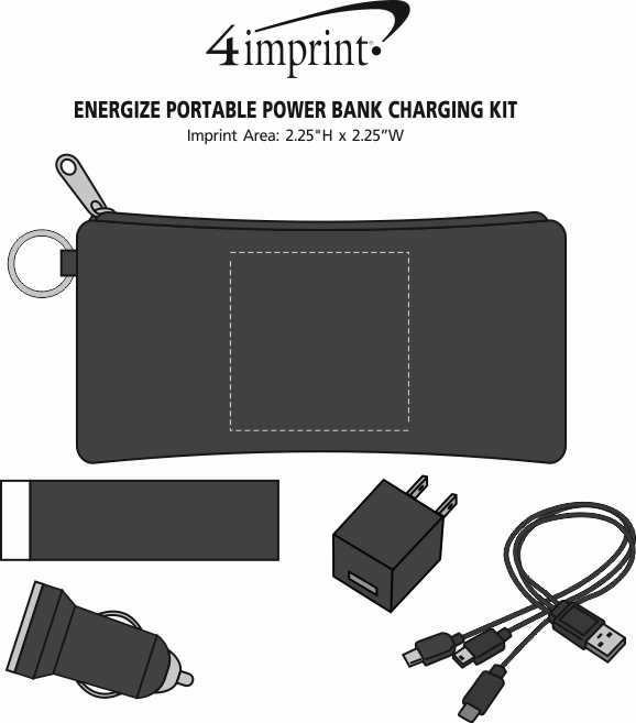 Imprint Area of Energize Portable Power Bank Charging Kit