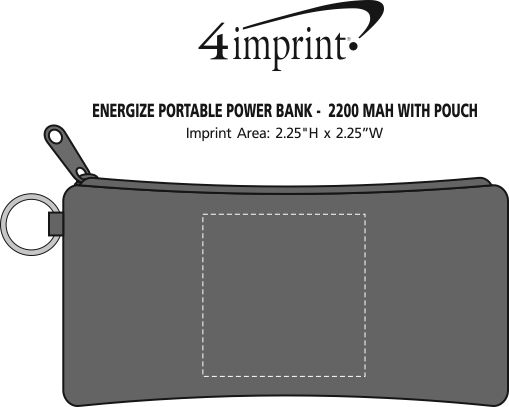 Imprint Area of Energize Portable Power Bank with Pouch