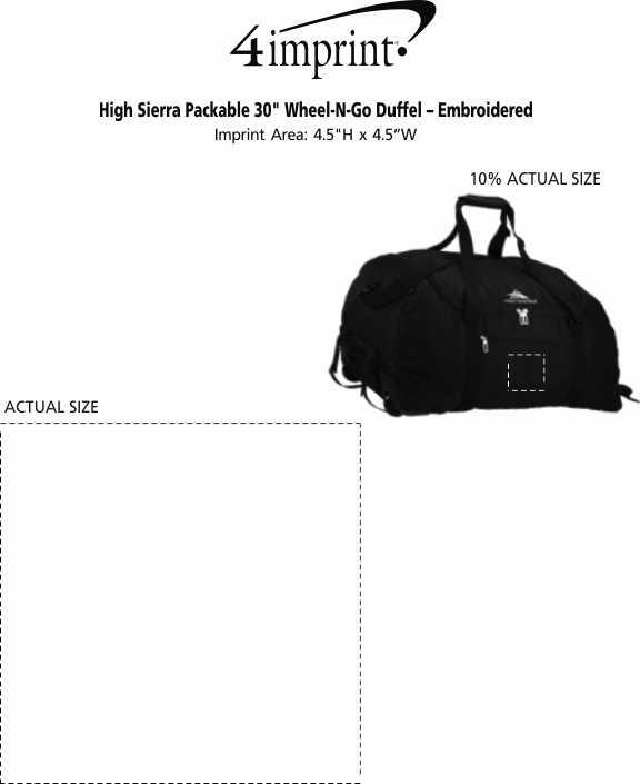 "Imprint Area of High Sierra Packable 30"" Wheel-N-Go Duffel - Embroidered"