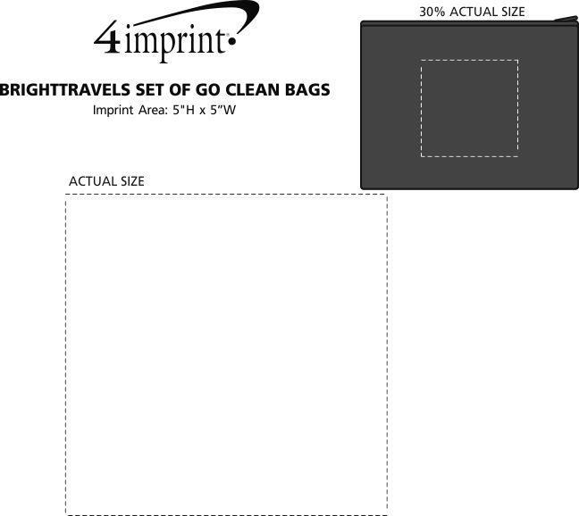 Imprint Area of BRIGHTtravels Set of Go Clean Bags