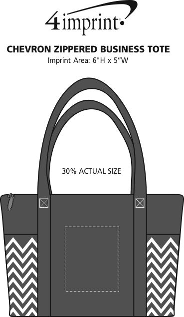 Imprint Area of Chevron Zippered Business Tote