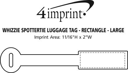 Imprint Area of Whizzie SpotterTie Luggage Tag - Rectangle - Large