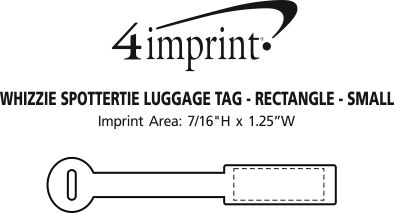 Imprint Area of Whizzie SpotterTie Luggage Tag - Rectangle - Small