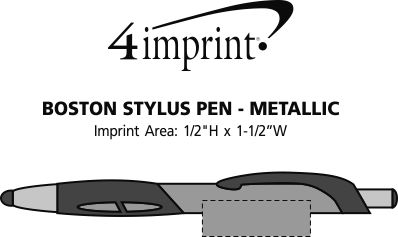 Imprint Area of Boston Stylus Pen - Metallic