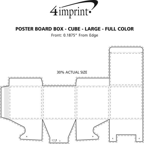 Imprint Area of Poster Board Box - Cube - Large - Full Color