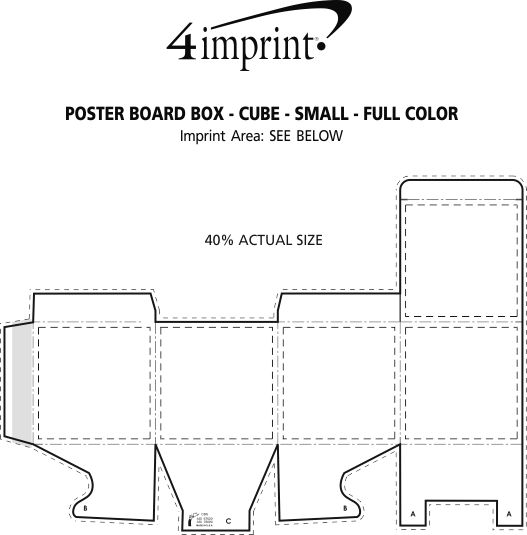 Imprint Area of Poster Board Box - Cube - Small - Full Color