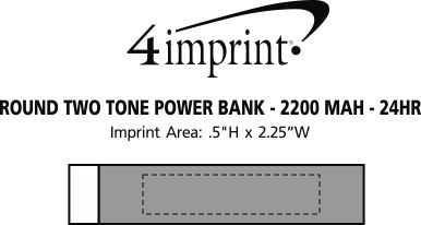 Imprint Area of Round Two Tone Power Bank - 24 hr