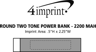 Imprint Area of Round Two Tone Power Bank