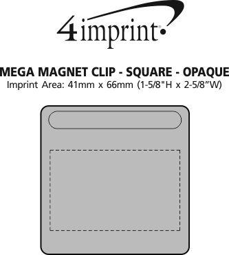 Imprint Area of Mega Magnet Clip - Square - Opaque