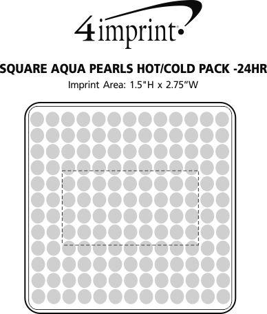 Imprint Area of Square Aqua Pearls Hot/Cold Pack - 24 hr