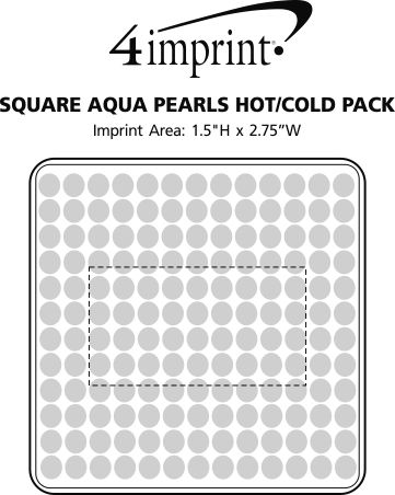 Imprint Area of Square Aqua Pearls Hot/Cold Pack