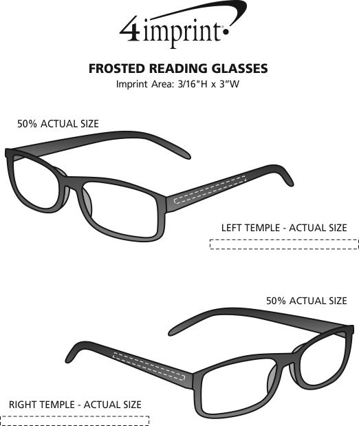Imprint Area of Frosted Reading Glasses
