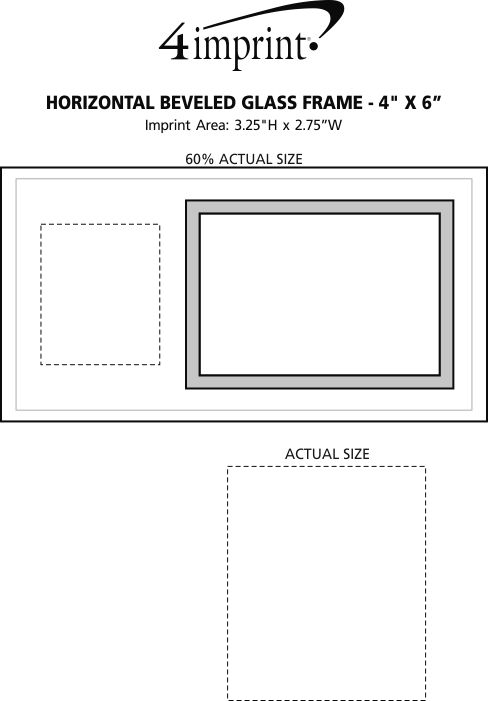 "Imprint Area of Horizontal Beveled Glass Frame - 4"" x 6"""