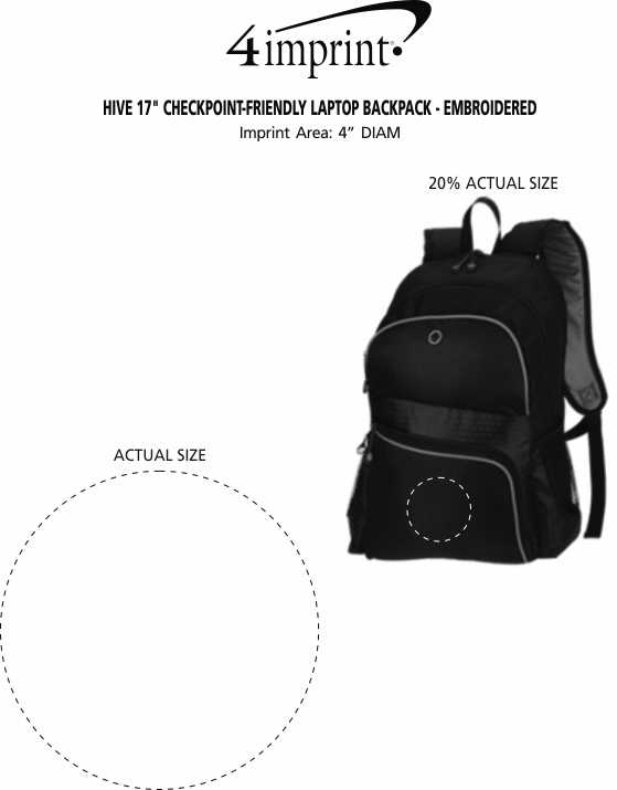 """Imprint Area of Hive 17"""" Checkpoint-Friendly Laptop Backpack - Embroidered"""