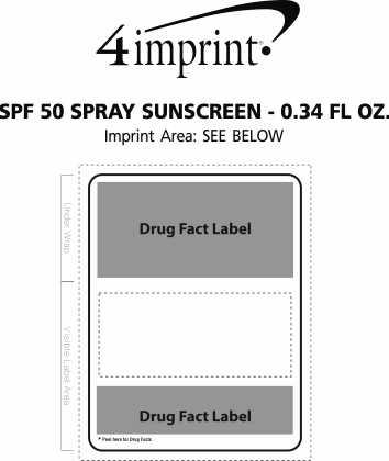 Imprint Area of SPF 50 Spray Sunscreen - 0.34 fl oz.