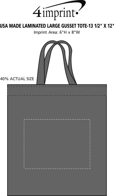 """Imprint Area of Heat Seal Laminated Large Gusset Tote - 13-1/2"""" x 12"""""""