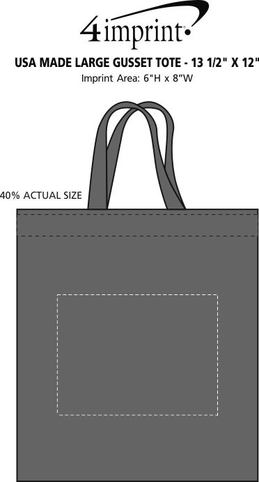 """Imprint Area of Heat Seal Large Gusset Tote - 13-1/2"""" x 12"""""""