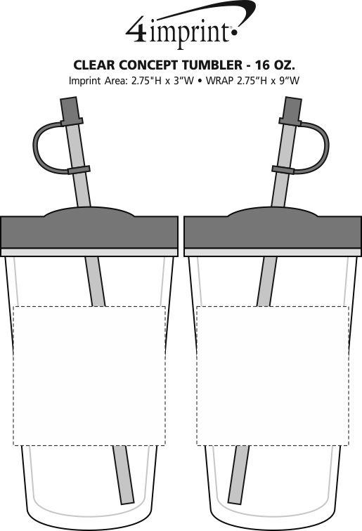 Imprint Area of Clear Concept Tumbler - 16 oz.